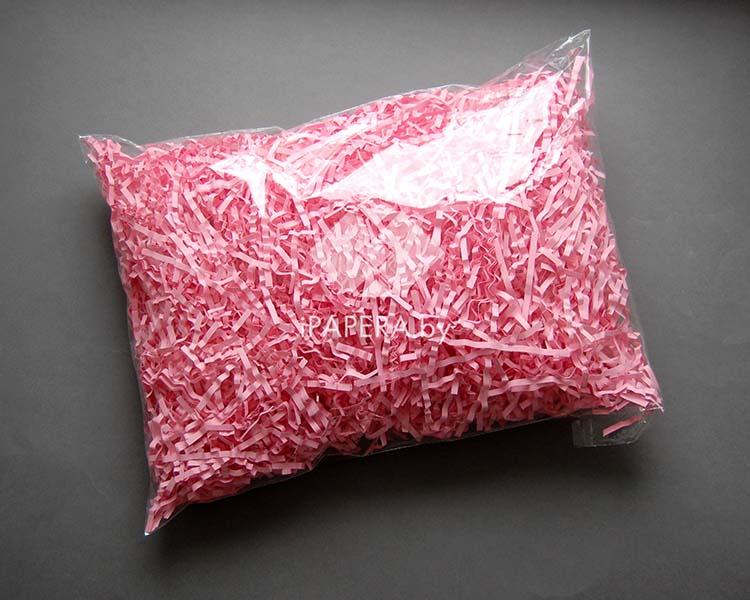 Розовая бумажная стружка (гофрированная)