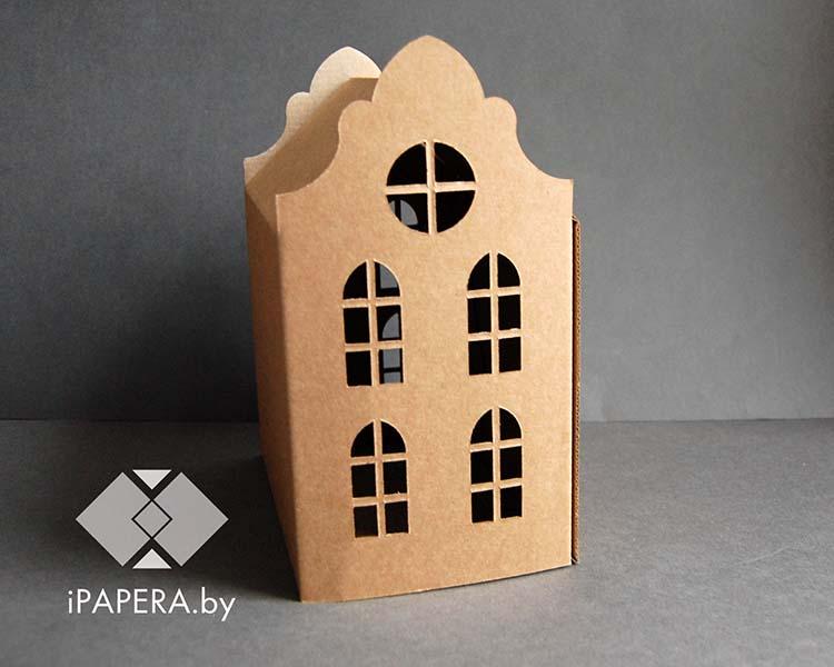 Крафт коробка домик (средний)