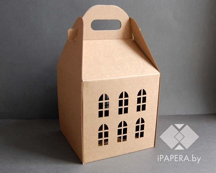 Крафт коробка домик (большой)