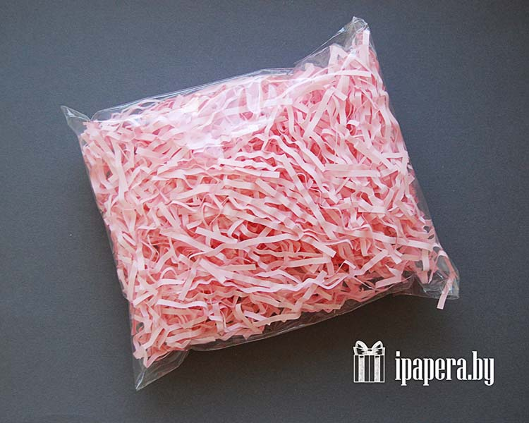 Светло-розовая бумажная стружка (гофрированная)