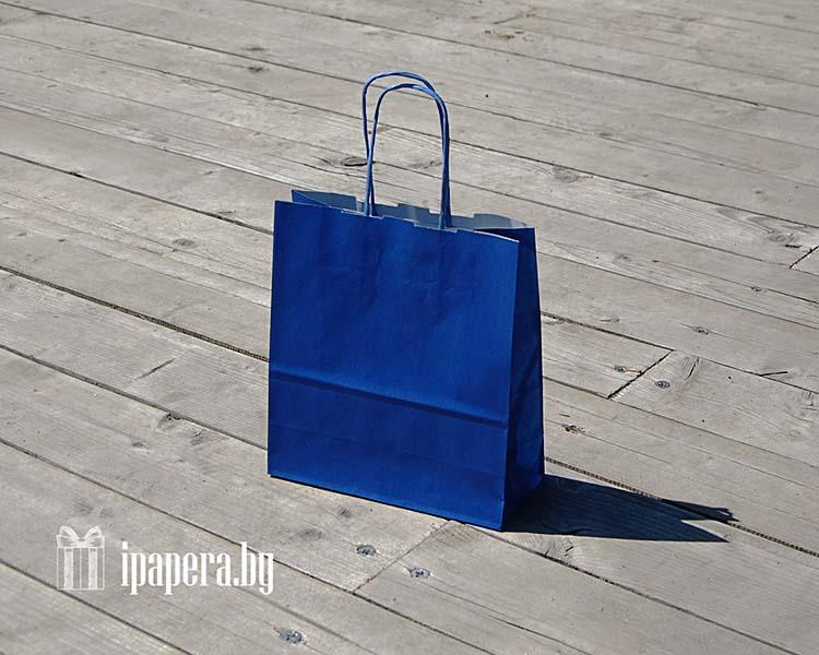 Синий крафт пакет